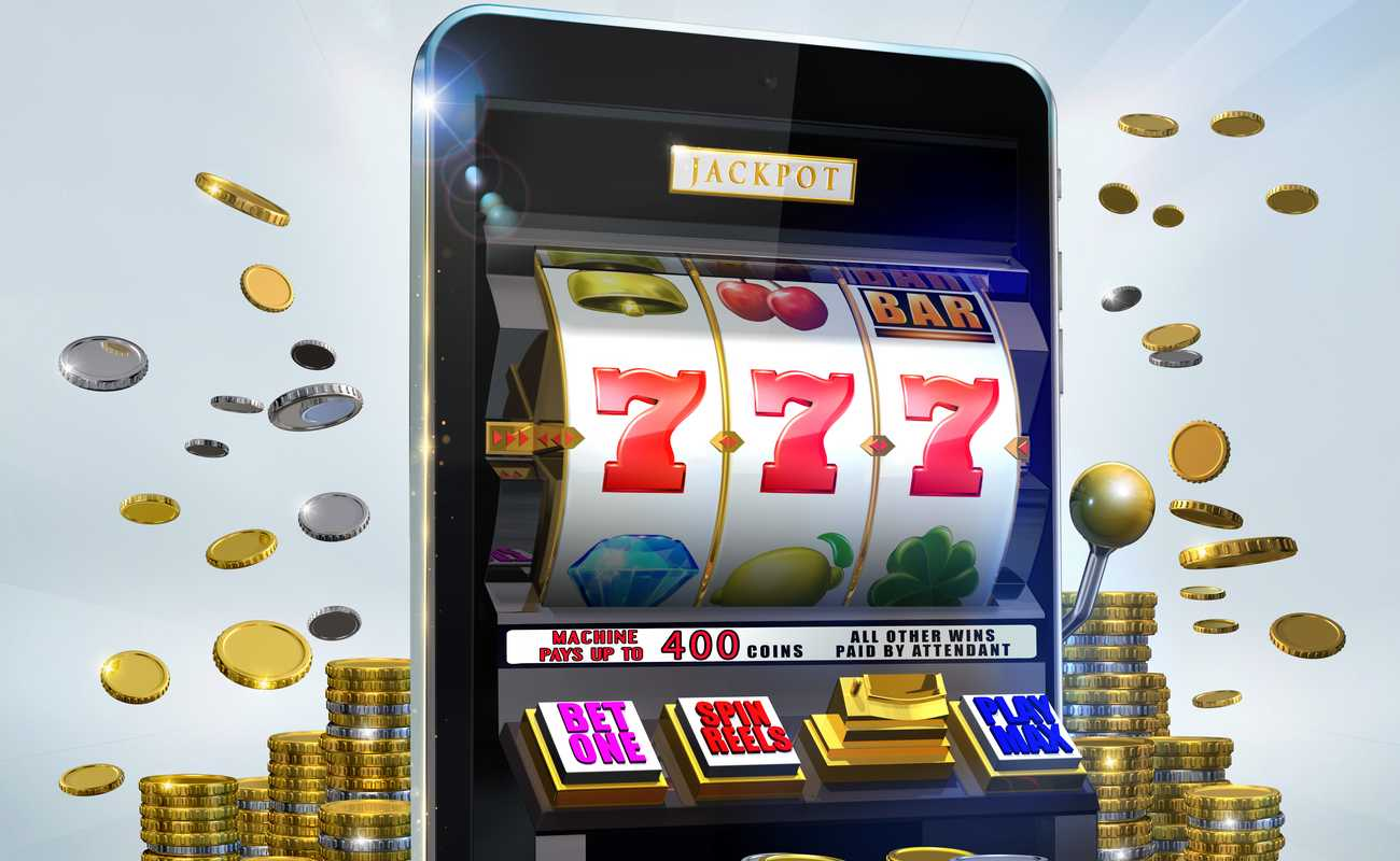 Игровой автомат с джекпотом с 777 отображаемыми монетами, летающими вокруг него